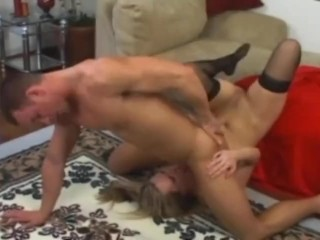 Blonde milf Harmony Rose deepthroating and anal sex in stockings