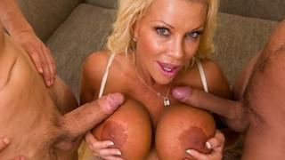 Big-tit blonde boss Jr Carrington takes two big-dicks at work