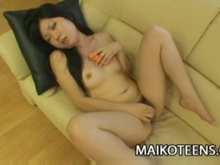 Japanese teen Miharu Kase playing with hard cock