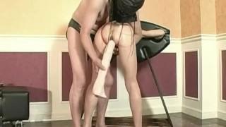 Monster dildo fucked submissive