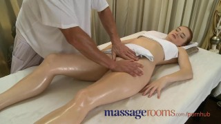 Screen Capture of Video Titled: Massage Rooms Incredible young woman serviced then creampie