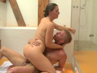 MOM MILF and younger lover have sex in the shower
