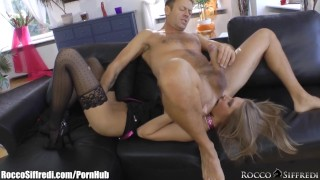 Screen Capture of Video Titled: Rocco Siffredi Anally Defiles a Russian Ballerina on a Leash