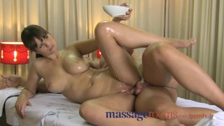 Screen Capture of Video Titled: Massage Rooms Big natural breasts and small hands satisfy