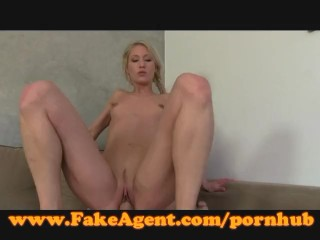 FakeAgent Sexy blonde takes mouthful of spunk