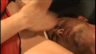 Screen Capture of Video Titled: REVERSE BUKKAKE 10 - Scene 1
