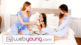 Screen Capture of Video Titled: EXCLUSIVE: Webyoung innocent Angel Lesbian Teen Threesome
