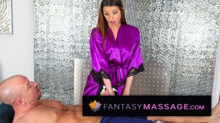 Screen Capture of Video Titled: Massage-Parlor Innocent Masseuses First Blowjob