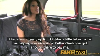 Screen Capture of Video Titled: FakeTaxi Runaway ebony sucks cock to buy drivers silence