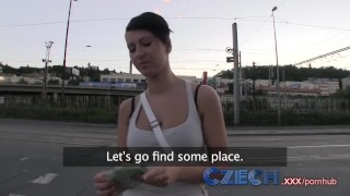 Screen Capture of Video Titled: Czech Hottie sucks and fucks from behind in public