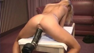 Petite french blonde demolished by a dildo machine