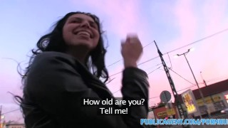 Screen Capture of Video Titled: PublicAgent Hot brunete with massive its flashing in public