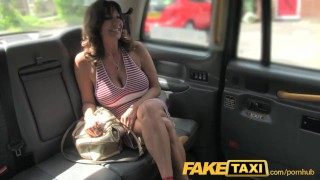 Screen Capture of Video Titled: FakeTaxi Sexy milf with big tits does anal