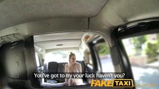 Screen Capture of Video Titled: FakeTaxi Cabby tries his beginners luck on hot blonde with big tits