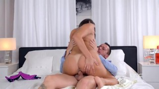 Screen Capture of Video Titled: Busty European Sex Goddess gets Titty Fucked Hard