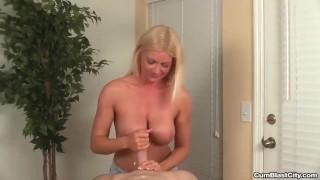 Horny mature hottie gets splattered with semen