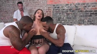 Screen Capture of Video Titled: Brooklyn Chase Fucks Two Black Guys To Please Her Hubby