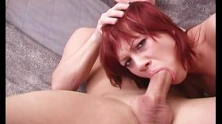Deepthroating Redhead Teen Gags Over A Big Cock