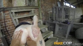 Screen Capture of Video Titled: Fake Cop Anal sex in the Barn Yard