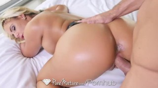 Screen Capture of Video Titled: PureMature - Sexy Phoenix Marie in black lingerie is fucked