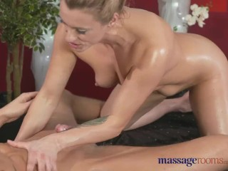 Massage Rooms Sexy MILFs pussy drips with hot come after session with masse