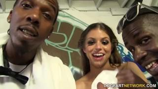 Screen Capture of Video Titled: Brooklyn Chase Gets Ganbanged at Interracial Blowbang