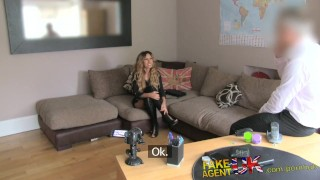 Screen Capture of Video Titled: FakeAgentUK Tight pussy Essex chick returns for 2nd casting couch fucking