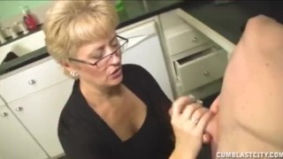 Short haired grandma gets a facial