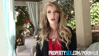 Screen Capture of Video Titled: PropertySex - Unboxing video turns into sex with hot ass real estate agent
