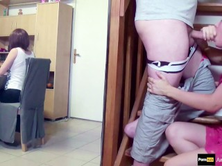 stepsister suck stepbro's dick & swallow while parents are playing #POV