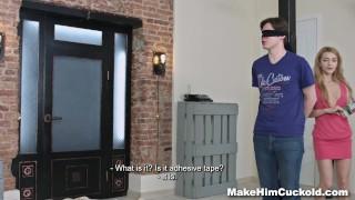 Screen Capture of Video Titled: Make Him Cuckold - Cum-covered cuckold