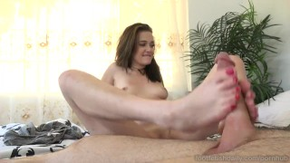 Screen Capture of Video Titled: Peyton Robbie Loves Cum on Her Red Toes