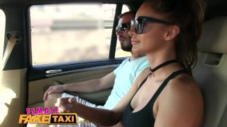 Screen Capture of Video Titled: FemaleFakeTaxi Brunette cabbie fucked doggy style in car trunk