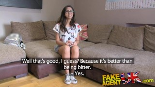 Screen Capture of Video Titled: FakeAgentUK Hot Euro chick loves deepthroat pussy fucking and anal sex