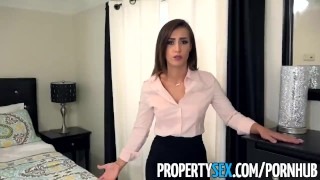 Screen Capture of Video Titled: PropertySex - Sexy real estate agent with big ass fucks boss to keep job