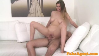 FakeAgent British babe with big tits fucked by new euro agent