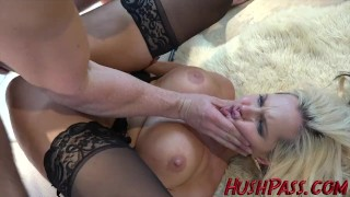 Screen Capture of Video Titled: Alena gets some big cock anal gaping!