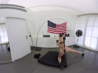 Hot SWAT girl shoves big baton in her pussy