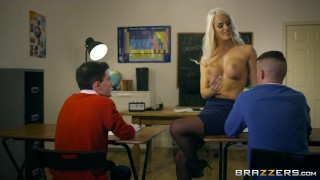 Dirty teacher Blanche Bradburry gets fucked by two studs - Brazzers