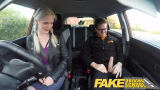 Screen Capture of Video Titled: Fake Driving School student with big tits and hairy pussy has creampie