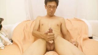 Japanese DILF teases his cock till he cums