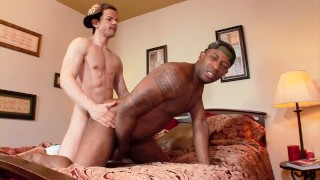 Black thug gets fucked by athletic white DILF