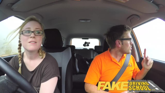 Fake Driving School Pigtail Blonde Cutie with Hairy Teen Pussy (中出)creampie