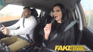 Screen Capture of Video Titled: Fake Driving School Jasmine Jae fully naked sex in a car
