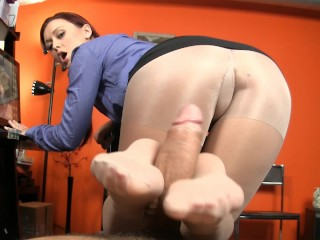 Secretary Keeps Her Job By Giving Boss A Footjob