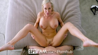 Screen Capture of Video Titled: SpyFam Big tit step mom Brandi Love fucks gamer stepson