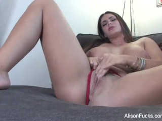 Big boobed Alison Tyler plays with her hot wet pussy