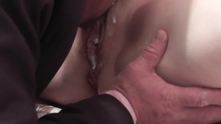 Screen Capture of Video Titled: Whipped cream. Secretary instead dinner for boss. Cunnilingus cream pussy
