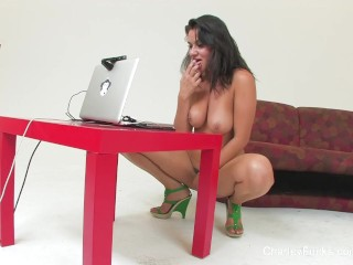 Quick masturbation tease with busty Charley Chase