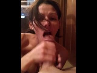 Deepthroat cum in mouth ballsucking